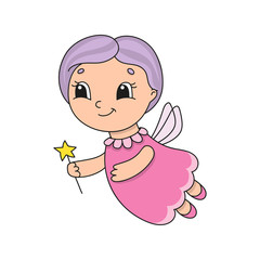 Cute fairy with purple hair. Cute flat vector illustration in childish cartoon style. Funny character. Isolated on white background.