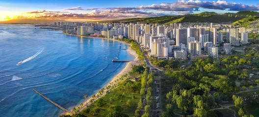 Honolulu skyline with ocean front Wall mural