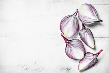 Pieces of fragrant fresh red onion.