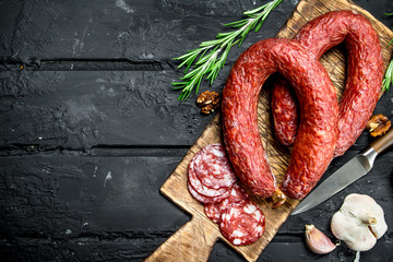 Salami smoked with spices and herbs.