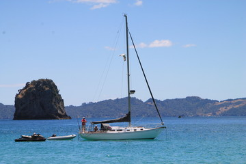 Yacht, Cathedral Cove, coromandel, NZ.