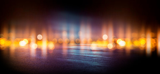 Fotomurales - Wet asphalt, reflection of neon lights, a searchlight, smoke. Abstract street with smoke, smog. Night background, night city Abstract bokeh light, night bokeh.