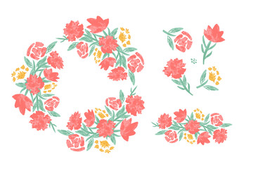Set of floral elements for your design. Cute wreath, brush, flowers and leaves. Collection of objects for cards, invitations, textile, fabric. illustration