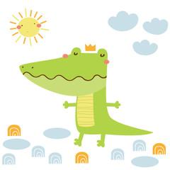 Cartoon funny crocodile vector card. Doodle vector illustration
