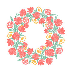 Floral wreath with red pink blooming flowers and leaves isolated on white background. Pretty garland. Design template for invitation, wedding or greeting cards.