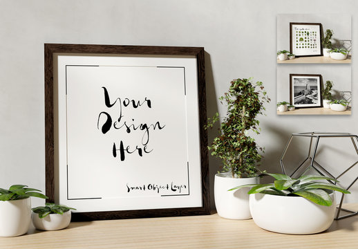Square Frame Leaning Against a Wall with Plants Mockup