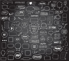 Graphic sketch elements set on a chalkboard - doodle graphic line signs and symbols, speech bubbles, frames, phrases