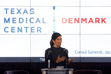 Danish Crown Princess Mary delivers remarks at the launch of Danish-Texan Bio-bridge within Life Science event at the Texas Medical Center in Houston, Texas