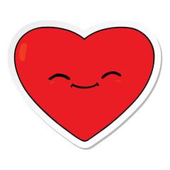 sticker of a cartoon happy love heart