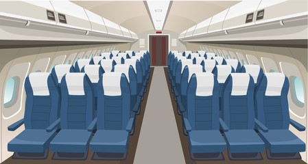 Airplane interior design. Passenger airplane seats, portholes and lights. Aircraft salon indoor interior. Airplane vector interior illustration
