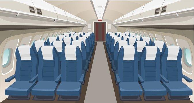 Airplane interior design. Passenger airplane seats, portholes and lights. Aircraft salon indoor interior. Airplane vector interior illustration