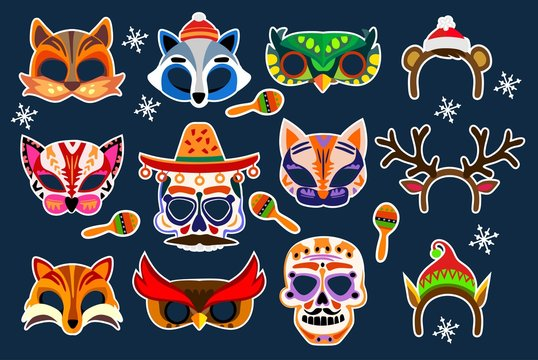 Colorful photo booth masks and props. Wedding, party, birthday, carnival or holiday collection. Vector masks and photo booth set.