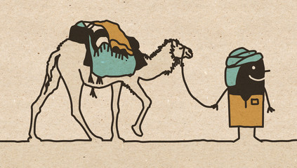 Black Cartoon Nomad with Camel