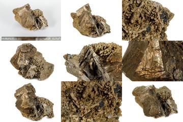 Macro mineral pyrite stone white background