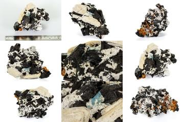 Macro mineral stone Feldspar and Aquamarine and Tourmaline on a white background