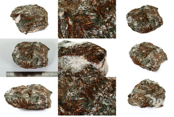 Macro mineral stone astrophyllite white background