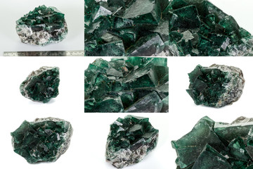 Macro mineral stone Fluorite white background