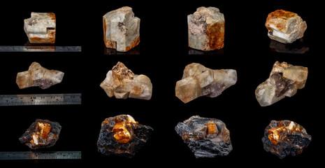 macro mineral stone Topaz on a black background