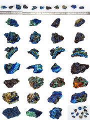Macro mineral stone Malachite and Azurite against white background