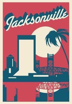 Jacksonville Florida skyline postcard