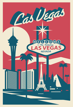 Las Vegas Nevada skyline postcard