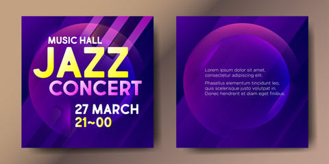 Set of two violet square jazz card templates with graphic elements and text.