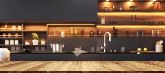 Blur image of modern kitchen interior. Modern kitchen for montage
