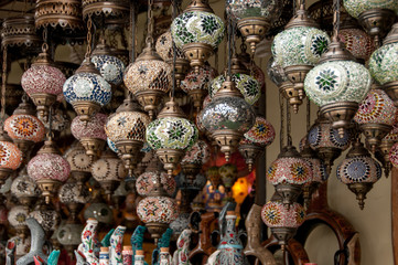 Lamps of bright mosaic glass in a shop