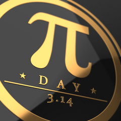 Pi day symbol 3D rendered with depth of field focus blur