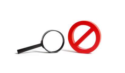 Magnifying glass and symbol NO on an isolated background. search and inability to find. No search results. Find the information you need, bans and secrecy. Freedom of information and speech.