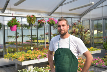 Portrait Gärtner im Gewächshaus mit bunten Blumen einer Gärtnerei // Gardener in a greenhouse with colourful flowers from a nursery