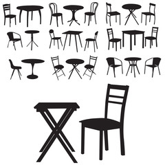 table and chair set of silhouettes