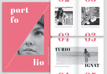 Bright Pink and White Portfolio Layout