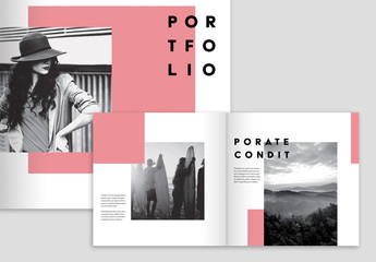 Bright Pink and Blue Portfolio Layout