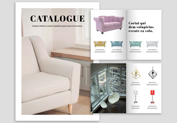 Black and White Catalog Layout with Pink Accents