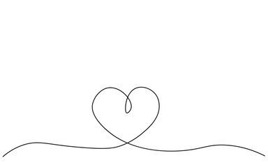Heart love background, one line drawing, vector illustration