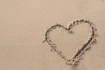 Heart on the Sand in the Beach.