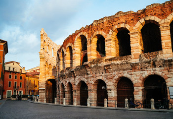 Piazza Bra and Roman Arena in Verona at dusk time, Italy