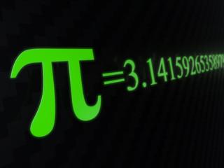 Pi = 3.14 - pi symbol numeric value 3D render with focus depth of field