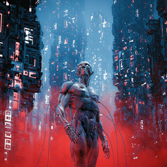 Legacy of carbon / 3D illustration of science fiction male humanoid cyborg lost in futuristic neon lit cyberpunk city