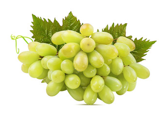 Fresh grapes with leaves isolated on white background with clipping pass