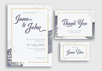 Wedding Suite with Watercolor and Floral Elements