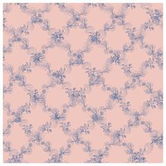 Blue rose endless pattern of rhombuses.