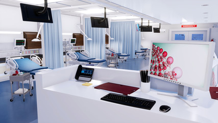 Close-up of empty nurses station with computer monitor and communications equipment in emergency room of modern hospital. With no people 3D illustration from my own 3D rendering file.