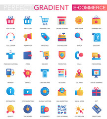 Vector set of trendy flat gradient E-commerce icons.