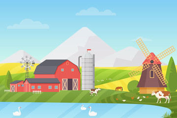 Agriculture, Agribusiness and Farming vector illustration concept. Rural cartoon landscape with animals and buildings.