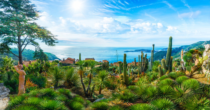 Amazing landscape on Mediterranean coastline, view on the top of Eze village at french Riviera coast, Cote d'Azur, France