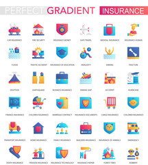 Vector set of trendy flat gradient Insurance icons.