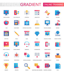 Vector set of trendy flat gradient Online education icons.