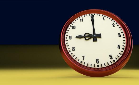 nine o'clock big clock rush watch yellow background 3D illustration